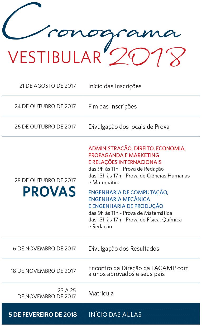 Cronograma do Vestibular FACAMP